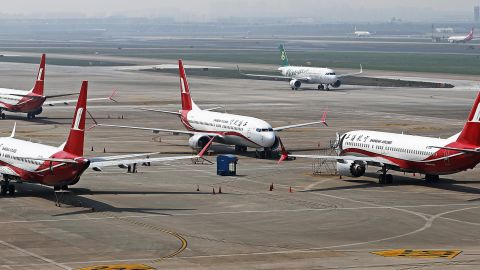 SHANGHAI, CHINA - MARCH 17: Shanghai Airlines' Boeing 737 MAX 8 planes are grounded at Hongqiao International Airport on March 17, 2019 in Shanghai, China. Boeing Co said on March 15 its software upgrade for the grounded 737 MAX jetliner will be launched in the coming weeks. (Photo by Yin Liqin/China News Service/VCG via Getty Images)