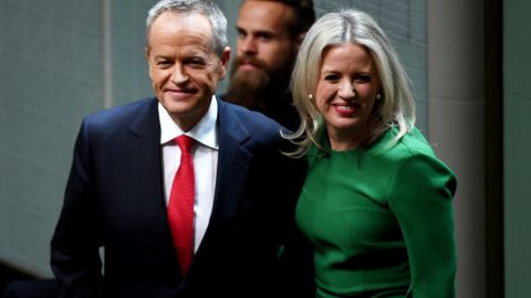 Opposition leader Bill Shorten stands with his wife Chloe Shorten after delivering his budget reply speech on April 4, 2019 in Canberra, Australia.