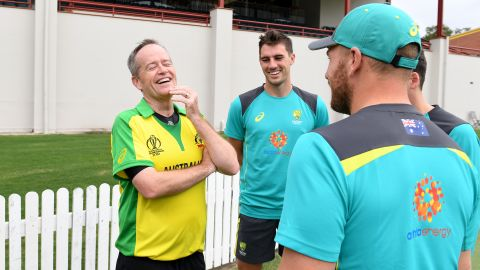 Labor Opposition leader Bill Shorten shares a laugh with Australian Cricket players Aaron Finch and Pat Cummins during a Cricket Australia Media Opportunity at Allan Border Field on May 4, 2019 in Brisbane, Australia.