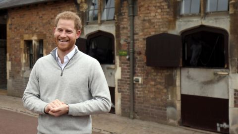 Harry, Duke of Sussex, speaks to members of the media at Windsor Castle following the birth of his son on Monday.