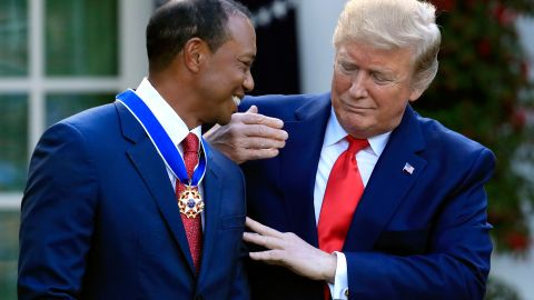 President Donald Trump awards the Presidential Medal of Freedom to Tiger Woods during a ceremony in the Rose Garden of the White House in Washington, Monday, May 6, 2019.