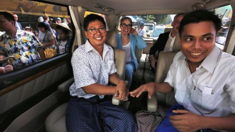 Reuters reporters Wa Lone and Kyaw Soe Oo react in a vehicle after being freed from Insein prison after receiving a presidential pardon in Yangon, Myanmar, May 7, 2019. REUTERS/Ann Wang