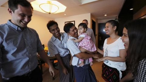 Reuters reporters Wa Lone and Kyaw Soe Oo celebrate with family members after being freed from prison.