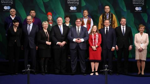 ROVANIEMI, FINLAND  MAY 7, 2019: Norway's Foreign Minister Ine Eriksen Soreide, Russia's Foreign Minister Sergei Lavrov, Sweden's Foreign Minister Margot Wallstrom, US Secretary of State Mike Pompeo, Finland's Foreign Minister Timo Soini, Canada's Foreign Minister Chrystia Freeland, Denmark's Foreign Minister Anders Samuelsen, Iceland's Foreign Minister Gudlaugur Thor Thordarson, and former governor of the province of Lapland Hannele Pokka (L-R) pose for a family photo ahead of the 11th Arctic Council Ministerial Meeting. Anton Novoderezhkin/TASS (Photo by Anton Novoderezhkin\TASS via Getty Images)