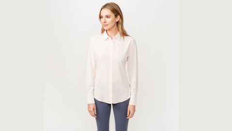 """<strong>Ministry of Supply Juno Tailored Dress Shirt ($95; </strong><a href=""""https://ministryofsupply.com/products/womens-juno-tailored-dress-shirt-blush"""" target=""""_blank"""" target=""""_blank""""><strong>ministryofsupply.com</strong></a><strong>) </strong><br />"""