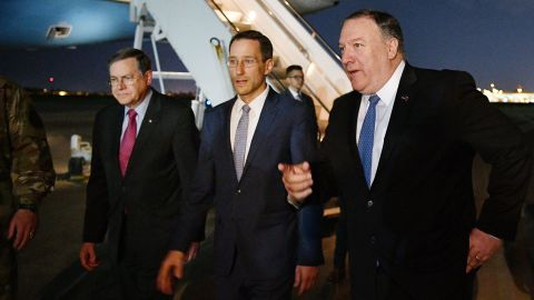 US Secretary of State Mike Pompeo (R) walks with Acting Assistant Secretary for Near Eastern Affairs at the State Department David Satterfield (L), and Charge D'affaires at the US Embassy in Baghdad Joey Hood upon arrival in Baghdad for meetings on May 7, 2019. - Pompeo is scheduled to meet with the Iraqi prime minister and president. (Photo by MANDEL NGAN / POOL / AFP)        (Photo credit should read MANDEL NGAN/AFP/Getty Images)