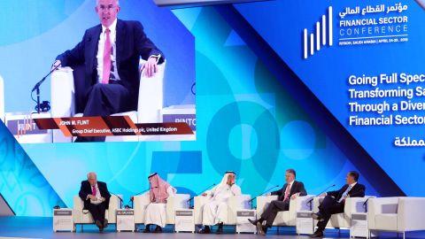 John Michael Flint, HSBC Group Chief Executive, speaks during financial sector conference in Riyadh, Saudi Arabia April 24, 2019. REUTERS/Stringer.