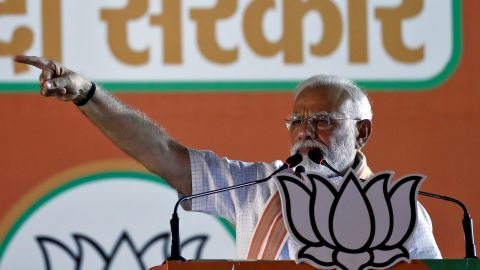 India's Prime Minister Narendra Modi addresses an election campaign rally at Ramlila ground in New Delhi, India, May 8, 2019.