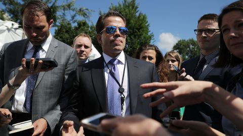 WASHINGTON, DC - JULY 25:  Incoming White House Communications Director Anthony Scaramucci talks with reporters during 'Regional Media Day' at the White House July 25, 2017 in Washington, DC. Conservative media outlets were invited to set up temporary studios on the north side of the West Wing so to interview White House officials and members of President Donald Trump's cabinet.  (Photo by Chip Somodevilla/Getty Images)