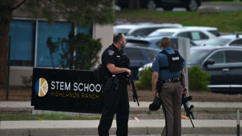 HIGHLANDS RANCH, COLORADO - MAY 07: Officers stand watch at the scene of a shooting in which at least seven students were injured at the STEM School Highlands Ranch on May 7, 2019 in Highlands Ranch, Colorado. (Photo by Tom Cooper/Getty Images)