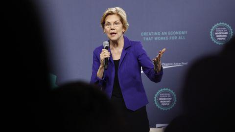 Democratic presidential candidate Sen. Elizabeth Warren, D-Mass., speaks at a Service Employees International Union forum on labor issues, Saturday, April 27, 2019, in Las Vegas. (AP Photo/John Locher)