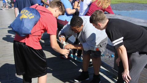 North Carolina middle school students sampling plankton for identification.