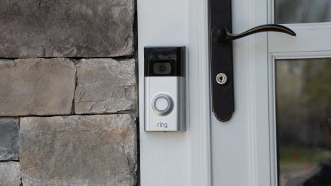 New York, USA - Circa 2018: Ring video doorbell owned by Amazon. manufactures home smart security products allowing homeowners to monitor remotely via smart cell phone app. Illustrative editorial - Image