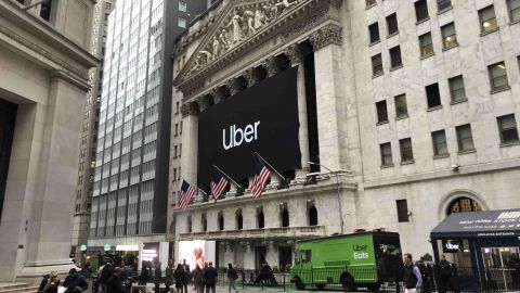 An Uber banner is displayed on the facade of the New York Stock Exchange on Friday, May 10.