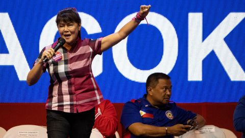 Senatorial candidate Imee Marcos   gestures during the Partido Demokratiko Pilipino-Lakas Bayan (PDP-LABAN) in Manila on May 11, 2019 ahead of the midterm elections.