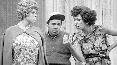 Vicki Lawrence (as Mama Harper) Carol Burnett (as Eunice Higgins), Tim Conway (as Mickey Hart) on 'The Carol Burnett Show' in 1977. (Photo by CBS via Getty Images)