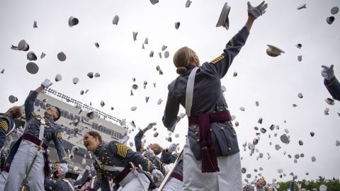 The 2014 graduating class at the United States Military Academy at West Point, New York, throw their covers in the air at the end of the ceremony May 28, 2014.