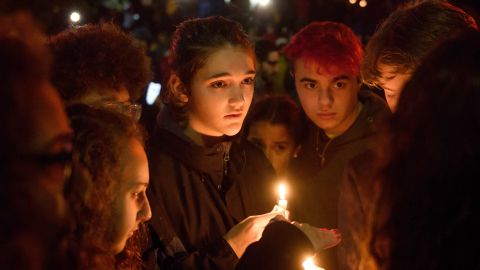 Mourners gather for a vigil after the mass shooting at the Tree of Life Synagogue in Pittsburgh.