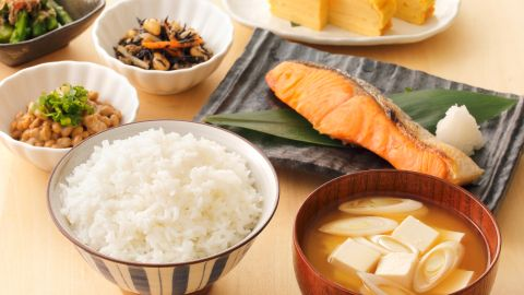 <strong>Japan:</strong> Fish like salmon or mackerel, miso soup, pickled vegetables and rice are all typically part of a traditional breakfast.