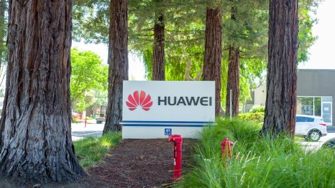 Sign at entrance to office of Chinese networking equipment company Huawei in the Silicon Valley, Mountain View, California, May 3, 2019. (Photo by Smith Collection/Gado/Getty Images)