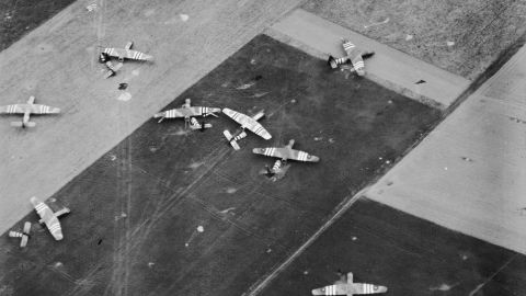 This aerial photo shows a landing zone for British planes near Ranville, France.