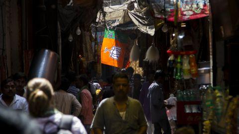 A flag of the ruling Bharatiya Janata Party (BJP) hangs over Varanasi's crowded old lanes.