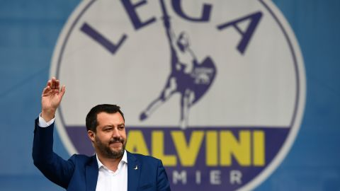 Italian Deputy Prime Minister and Interior Minister Matteo Salvini waves to a crowd at a rally of European nationalists ahead of European elections on May 18, 2019, in Milan. - The Milan rally hopes to see leaders of 12 far-right parties marching towards their conquest of Brussels after European parliamentary elections held between May 23 and 26, 2019. The headliners of Italy's League France's National Rally (RN) want their Europe of Nations and Freedom (ENF) group to become the third largest in Brussels. (Photo by Miguel MEDINA / AFP)        (Photo credit should read MIGUEL MEDINA/AFP/Getty Images)