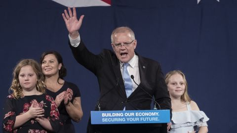 SYDNEY, AUSTRALIA - MAY 18: Newly elected Prime Minister of Australia Scott Morrison speaks at the Liberal Party reception at the Sofitel Wentworth Hotel on May 18, 2019 in Sydney , Australia.  (Photo by Brook Mitchell/Getty Images)