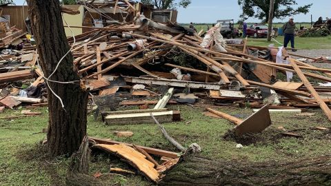 New images from the National Weather Service in Norman, Oklahoma show damage from a confirmed E2 tornado that struck east of Geronimo, Oklahoma early Saturday.