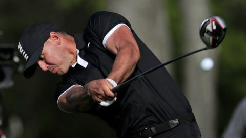 Brooks Koepka drives off the 12th tee during the third round.
