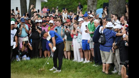 """Koepka said the back nine was """"very stressful"""" as he battled his own mistakes and the pressure exerted by Johnson."""