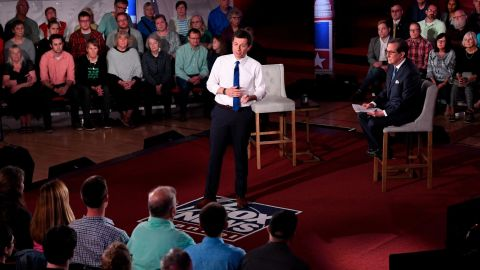 Democratic presidential candidate Pete Buttigieg, center, answers a question during a FOX News Channel town hall moderated by Chris Wallace.