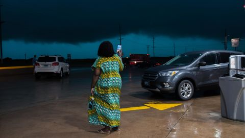 Tina Michael 30, films severe weather headed for Perry, Oklahoma from a gas station off of I-35 on Monday, May 20.