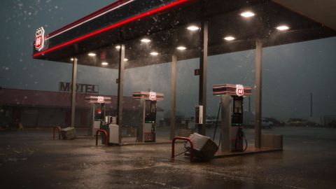 A Phillips 66 gas station near I-35 in Perry, Oklahoma just before a funnel-shaped cloud passed through on Monday, May 20.