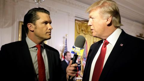 U.S. President Donald Trump is interviewed by Fox and Friends co-host Pete Hegseth at the White House in Washington, U.S. April 6, 2017. REUTERS/Kevin Lamarque
