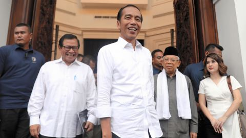Indonesian President Joko Widodo is seen after the meeting with coalition leaders a day after the presidential election on April 18, 2019 in Jakarta, Indonesia.