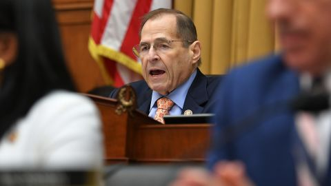 Chairman of the House Judiciary Committee, US Representative Jerry Nadler, speaks during a hearing where former White House lawyer Don McGhan is expected to testify on the Mueller report, on Capitol Hill in Washington, DC, on May 21, 2019. - US President Donald Trump has told McGhan to ignore a subpoena from Congress to testify about the president's alleged obstruction of justice, Trump spokeswoman Sarah Sanders said on May 20. (Photo by MANDEL NGAN / AFP)        (Photo credit should read MANDEL NGAN/AFP/Getty Images)