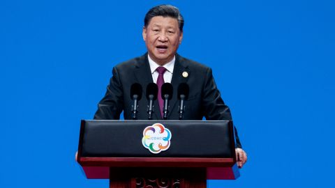 Chinese President Xi Jinping delivers a speech during the opening ceremony of the Conference on Dialogue of Asian Civilizations at the National Convention Center in Beijing on May 15, 2019. (Photo by NICOLAS ASFOURI / AFP)        (Photo credit should read NICOLAS ASFOURI/AFP/Getty Images)