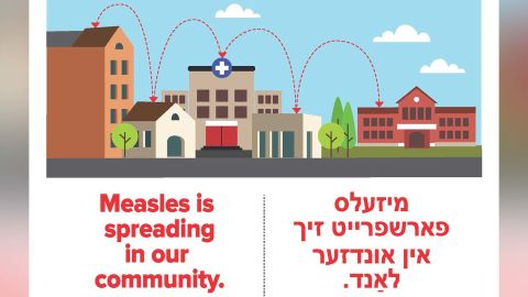 This ad distributed by the New York State Department of Health contains translation errors from English to Yiddish.