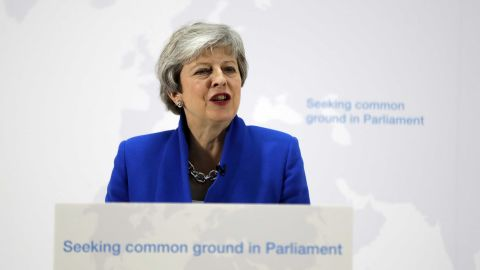 Britain's Prime Minister Theresa May delivers a speech in London on Tuesday May 21, 2019.