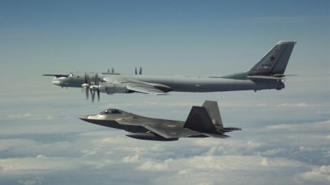 From NORAD: Two pairs of F-22 fighter jets, each with an E-3 Airborne Early Warning and Control System aircraft, from the North American Aerospace Defense Command (NORAD) positively identified and intercepted Russian Tu-95 bombers and Su-35 fighter jets entering the Alaskan Air Defense Identification Zone on May 21.