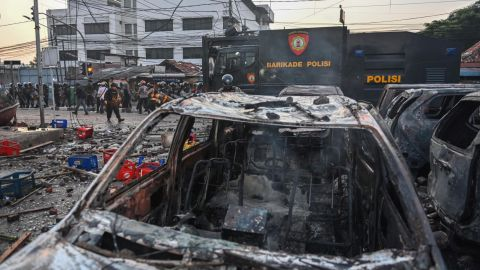 Cars after an overnight demonstration by the Elections Oversight Body in Jakarta on May 22, 2019.