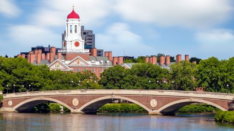 John W. Weeks Bridge with clock tower over Charles River in Harvard University campus Boston