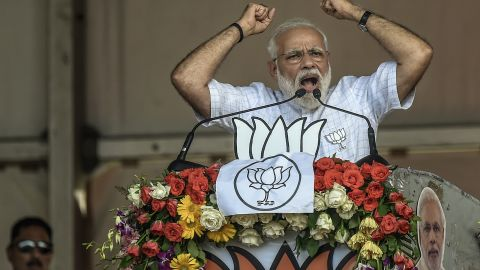 Indian Prime Minister Narendra Modi speaks at the public rally at Brigade ground on April 3, 2019, in Kolkata, India. (Photo by Atul Loke/Getty Images)