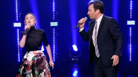 """Actress Millie Bobby Brown and host Jimmy Fallon do some inspired musical sparring during Wednesday night's """"Beat Battle."""""""