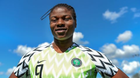 Nigerian national football team forward Desire Oparanozie poses on May 4, 2019 at the EA Guingamp's Rucaer training Center in Pabu, Brittany. (Photo by JEAN-FRANCOIS MONIER / AFP)        (Photo credit should read JEAN-FRANCOIS MONIER/AFP/Getty Images)
