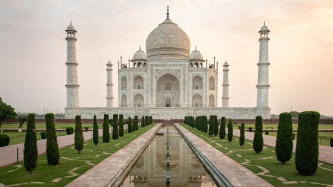 <strong>Agra, India:</strong> One of the world's most recognizable sights, the Taj Mahal is a white marble mausoleum built on the banks of the Yamuna River. It was commissioned by Shah Jahan in 1632 to house the tomb of his wife Mumtaz Mahal.