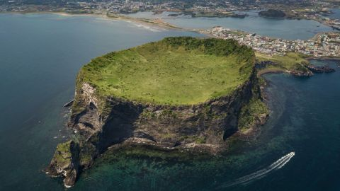 <strong>Jeju Island, South Korea:</strong> Seongsan Ichulbong, or Sunrise Peak, is a 182-meter high volcanic rock formation, some 5,000 years old. <br />
