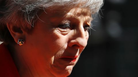 Britain's Prime Minister Theresa May reacts as she announces her resignation outside 10 Downing street in central London on May 24, 2019. - Beleaguered British Prime Minister Theresa May announced on Friday that she will resign on June 7, 2019 following a Conservative Party mutiny over her remaining in power. (Photo by Tolga AKMEN / AFP)        (Photo credit should read TOLGA AKMEN/AFP/Getty Images)