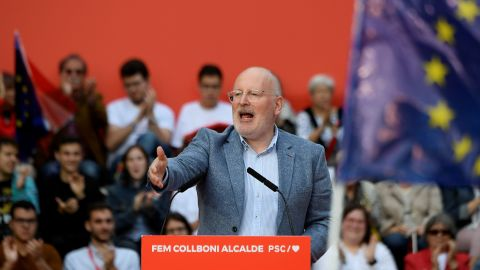 Frans Timmermans, European Commission vice president, delivers a speech during a campaign rally in Barcelona on May 23, 2019 ahead of EU elections.